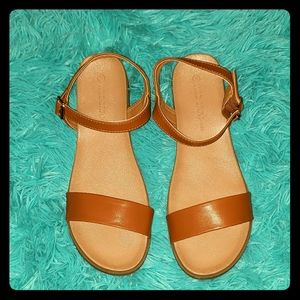 Faux Leather Tan Sandals